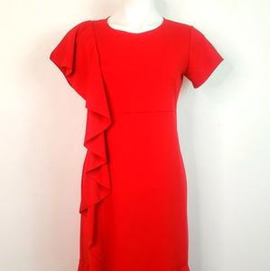Slinky Brand Womans Red Ruffle Front Dress Size Sm